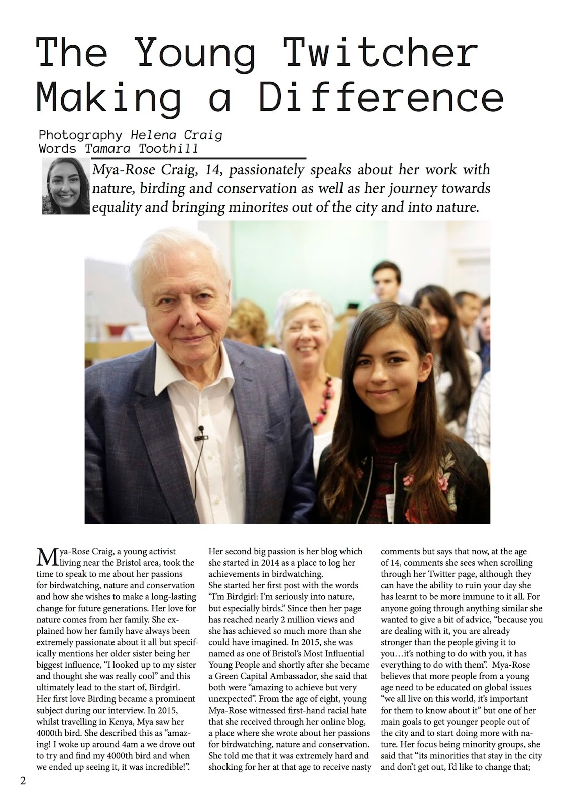 Interview with University of West of England first year journalism student Tamara Toothill